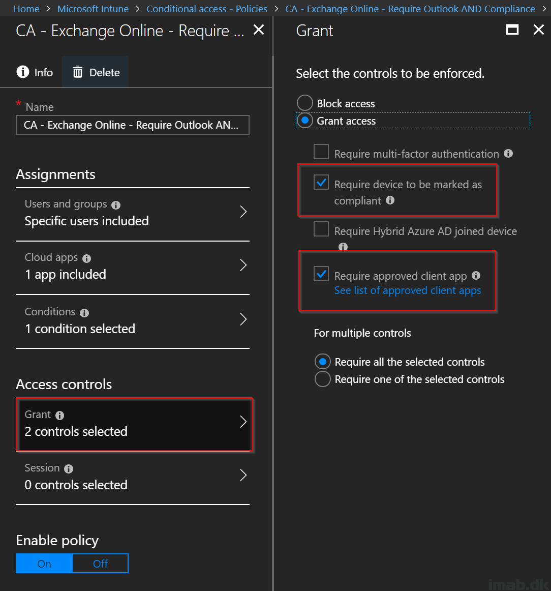 Conditional Access: Restrict access to Exchange Online and only
