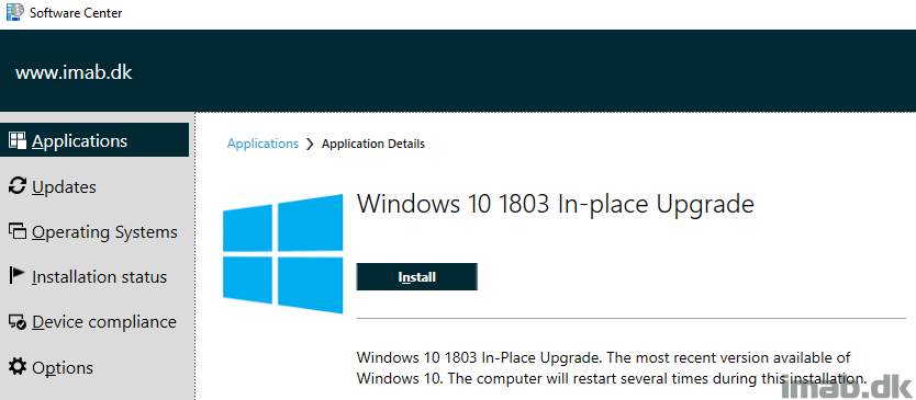 How can I in-place upgrade to Windows 10 1803 using