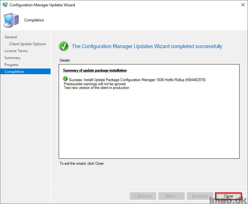 Installing Update Rollup (KB4462978) for SCCM 1806 (System