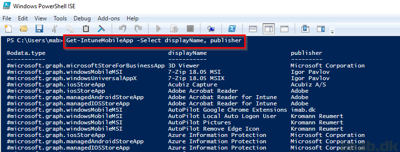 Connect to Microsoft Graph for Intune with Powershell ISE